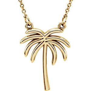 """14K Yellow Palm Tree 16 1/2"""" Necklace"""