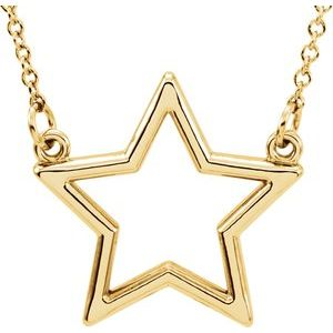 """14K Yellow Star 16"""" Necklace"""