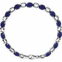 14K White 7x5 mm Oval Lab-Grown Blue Sapphire 7
