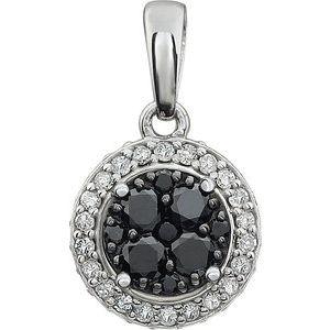 14K White 3/8 CTW Diamond Black & White Halo Pendant