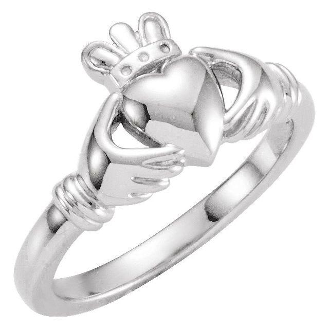 14K White Claddagh Ring