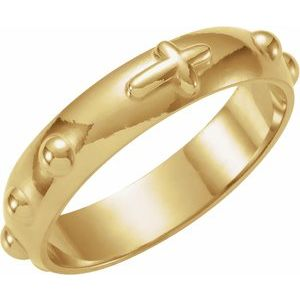 14K Yellow Rosary Ring Size 8
