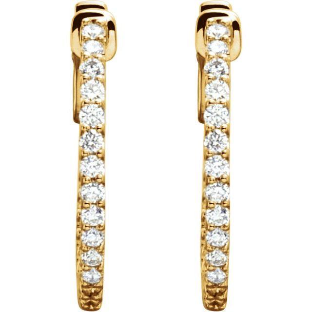 14K Yellow 19 mm 1/2 CTW Natural Diamond Inside-Outside Hinged Hoop Earrings