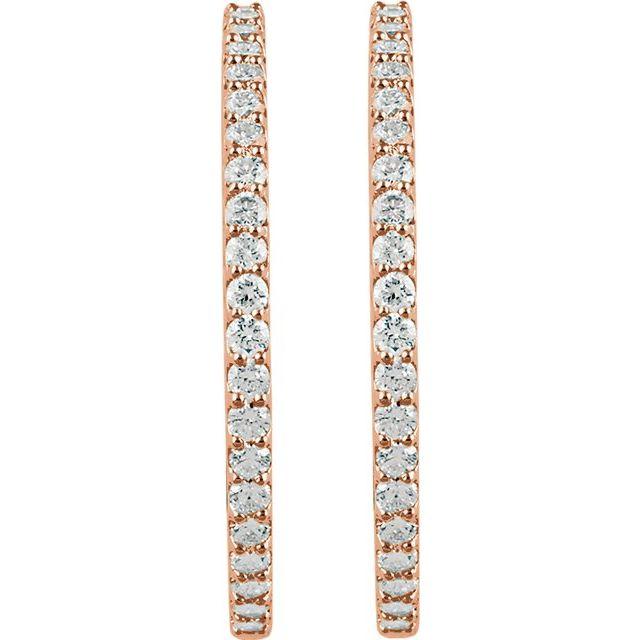 14K Rose 41.5 mm 5 CTW Natural Diamond Inside-Outside Hinged Hoop Earrings