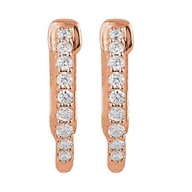 14K Rose 14.5 mm 1/4 CTW Natural Diamond Inside-Outside Hinged Hoop Earrings