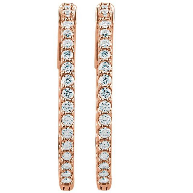 14K Rose 26.5 mm 1 CTW Natural Diamond Inside-Outside Hinged Hoop Earrings