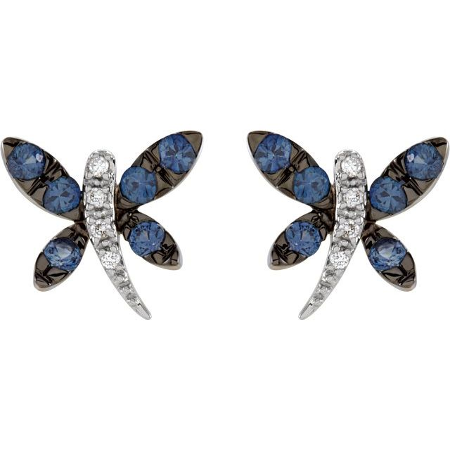 14K White Blue Sapphire & .04 CTW Diamond Dragonfly Earrings