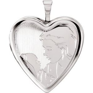 Sterling Silver 20.75x19.25 mm Child & Mother Heart Locket