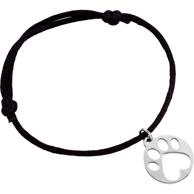 Sterling Silver Our Cause for Paws™ Black Satin Cord 6.5-8