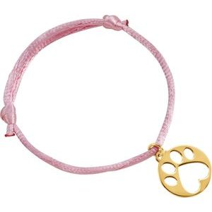 "14K Yellow Our Cause for Paws™ Pink Satin Cord 6.5-8"" Bracelet"