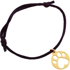 "14K Yellow Our Cause for Paws™ Black Satin Cord 6.5-8"" Bracelet"