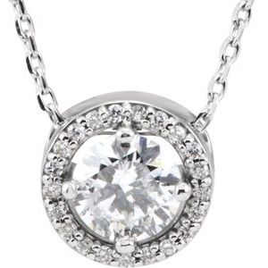 "14K White 1/2 CTW Diamond Halo-Style 16"" Necklace"