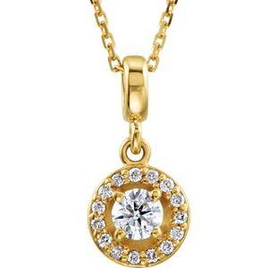 "14K Yellow 1/4 CTW Diamond Halo-Style 18"" Necklace"