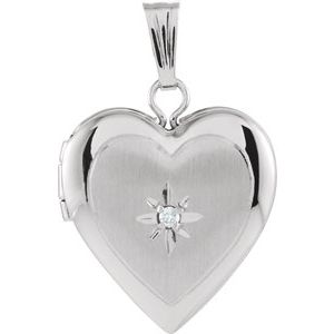 14K White 13.5x12.75 mm .010 CTW Diamond Heart Locket