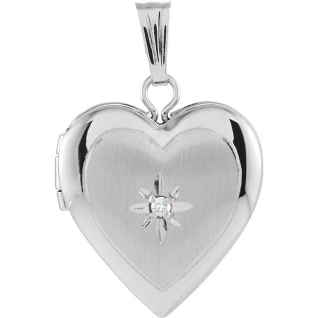 14K White 13.5x12.75 mm .010 CTW Diamond Heart Locket