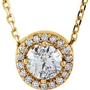 "14K Yellow 1/5 CTW Diamond Halo-Style 16"" Necklace"