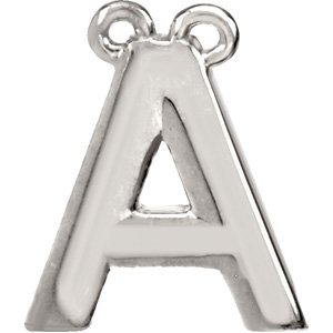 Sterling Silver Block Initial A Necklace Center
