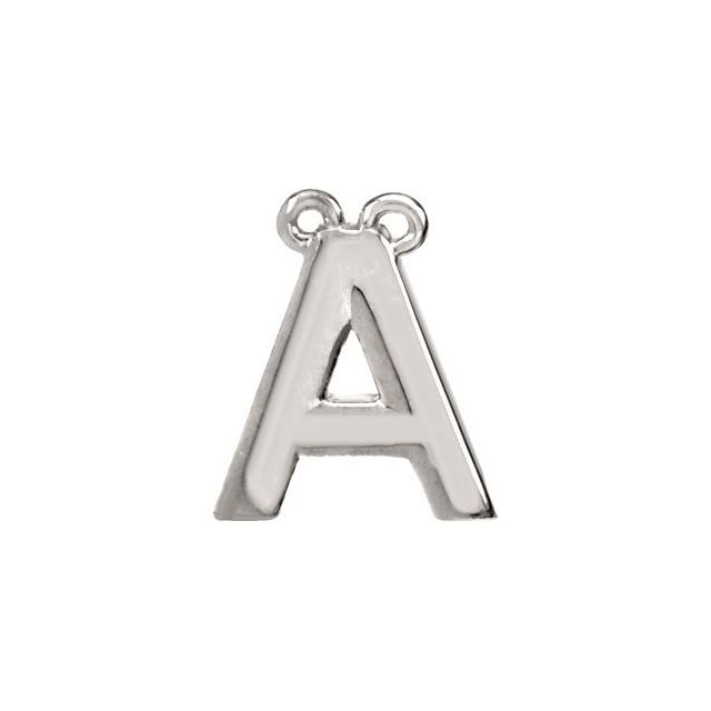 14K White Block Initial A Necklace Center
