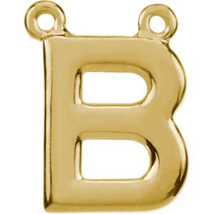 14K Yellow Block Initial B Necklace Center