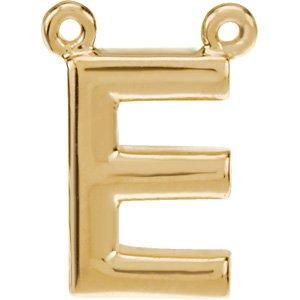14K Yellow Block Initial E Necklace Center