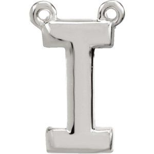 Sterling Silver Block Initial I Necklace Center