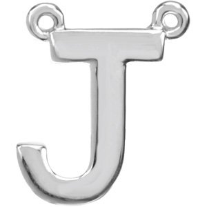14K White Block Initial J Necklace Center