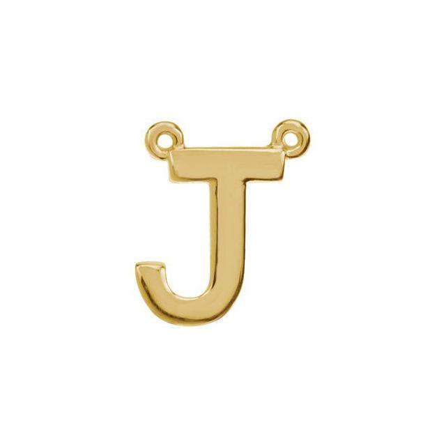 14K Yellow Block Initial J Necklace Center
