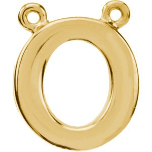 14K Yellow Block Initial O Necklace Center