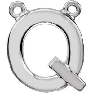 Sterling Silver Block Initial Q Necklace Center