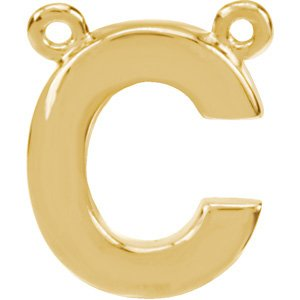 14K Yellow Block Initial C Necklace Center