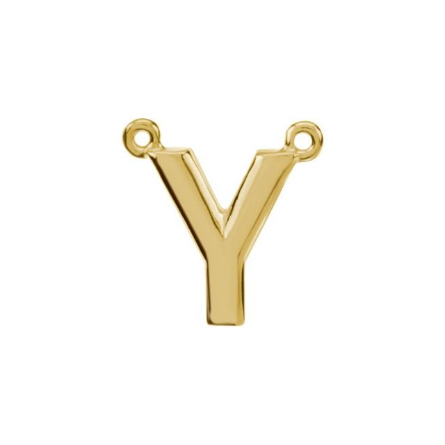 14K Yellow Block Initial Y Necklace Center