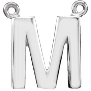14K White Block Initial M Necklace Center