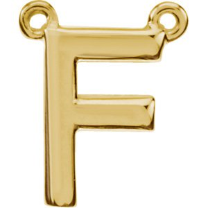 14K Yellow Block Initial F Necklace Center
