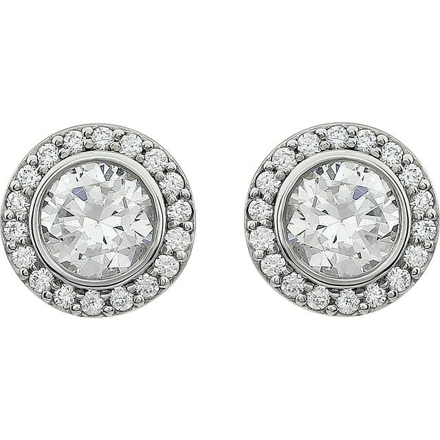 Sterling Silver 6 mm Round Cubic Zirconia Halo-Style Earrings