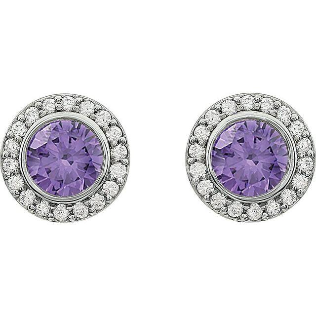 Sterling Silver 6 mm Round Purple Cubic Zirconia Halo-Style Earrings