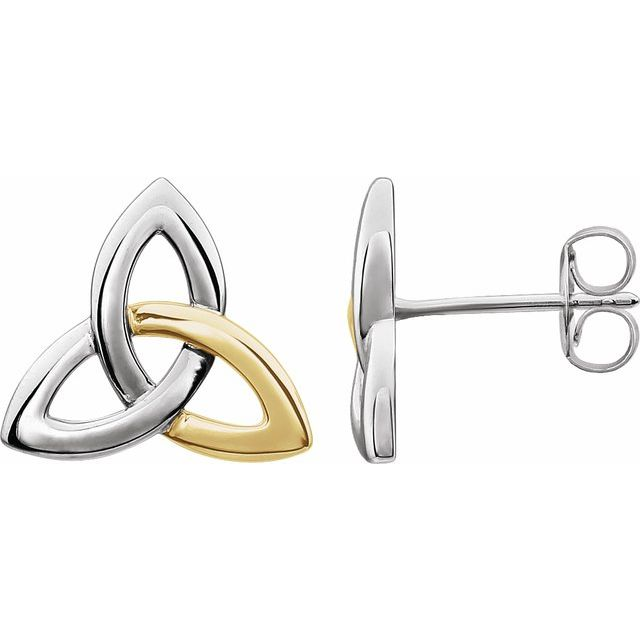 14K White & Yellow Celtic-Inspired Trinity Earrings