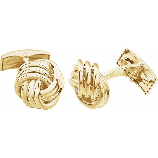 14K Yellow Knot Cuff Links