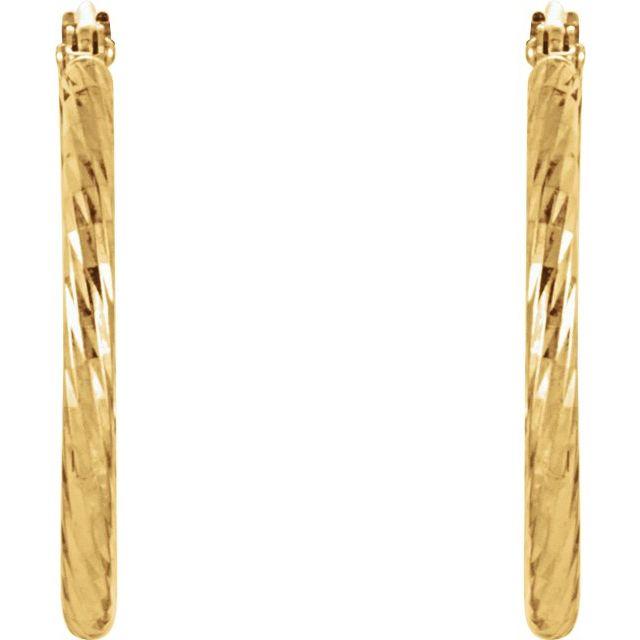 14K Yellow 25.5 mm Diamond-Cut Hoop Earrings