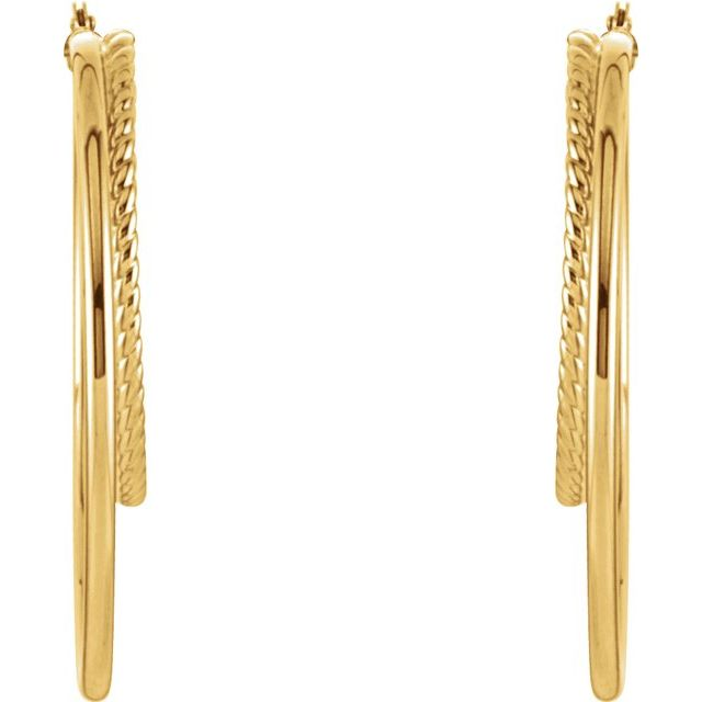 14K Yellow Oval Hoop Earrings