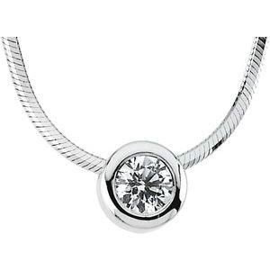 "14K White 1/4 CTW Diamond Solitaire 18"" Necklace"