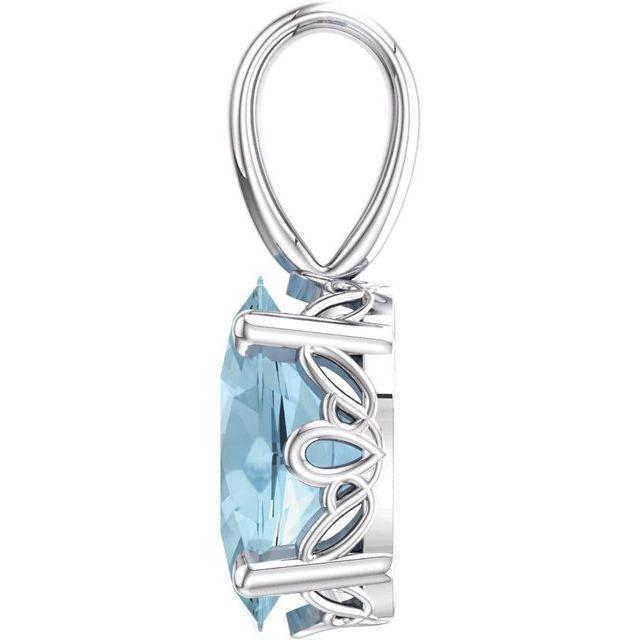14K White Aquamarine Pendant
