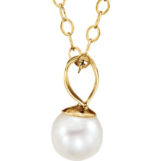 14K Yellow Freshwater Cultured Pearl 15