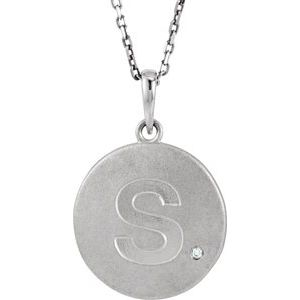 """Sterling Silver .005 CTW Diamond Initial S 18"""" Necklace"""