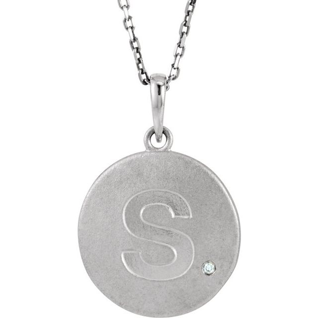 Sterling Silver .005 CTW Diamond Initial S 18
