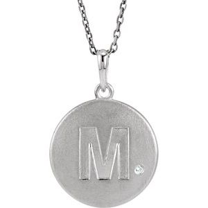 """Sterling Silver .005 CTW Diamond Initial M 18"""" Necklace"""