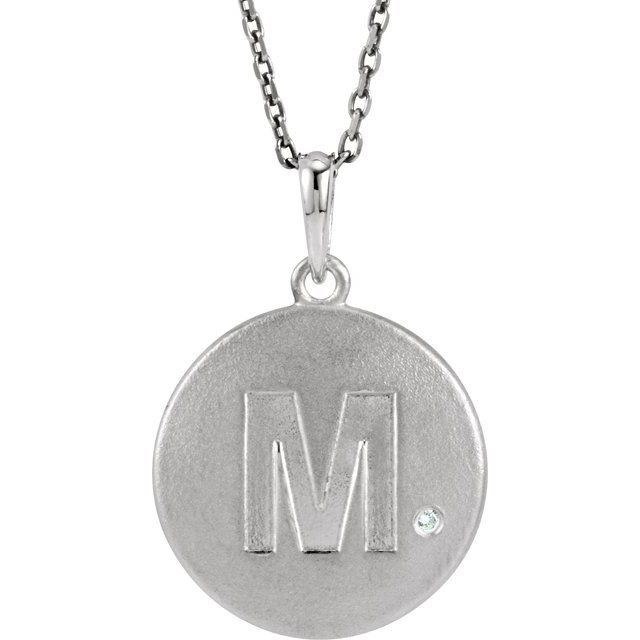 Sterling Silver .005 CTW Diamond Initial M 18