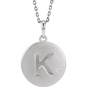 "Sterling Silver .005 CTW Diamond Initial K 18"" Necklace"