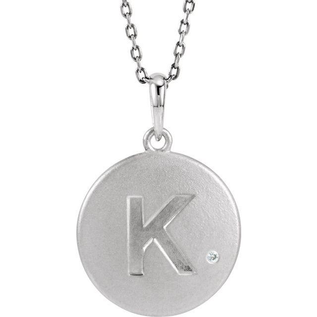Sterling Silver .005 CTW Diamond Initial K 18