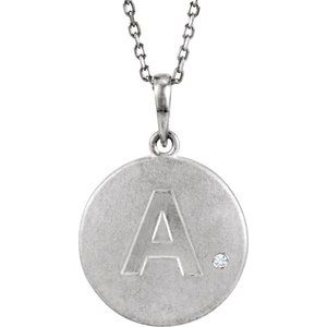 "Sterling Silver .005 CTW Diamond Initial A 18"" Necklace"