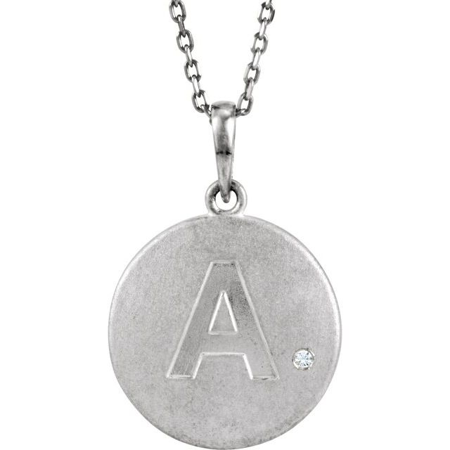 Sterling Silver .005 CT Diamond Initial A 18